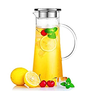 Hiware Borosilicate Glass Water Carafe Pitcher with Stainless Steel Infuser Lid, 50 oz.