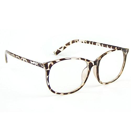 Cyxus Blue Light Filter Anti Eyestrain Computer Glasses, White Leopard Print - Leopard Print Frames Glasses