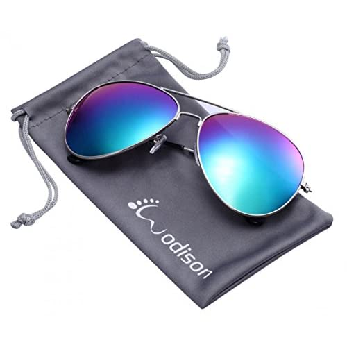 4a1cba456c Lovely WODISON gafas de sol de aviador de la vendimia reflectante lente de  espejo