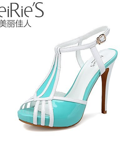 Blue Shoes Red ShangYi Nappa Blue Open Heel Sandals Toe Light Heels MeiRie'S Women's Stiletto Casual 44Ew76q