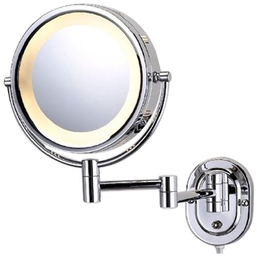 See All HLCSA895D Halo Lighted 8-Inch Diameter Wall Mounted Make Up Mirror 5X Direct Wire, - Mirror Wire