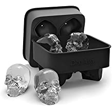 DineAsia 3D Skull Flexible Silicone Ice Cube Mold Tray, Makes Four Giant Skulls, Round Ice Cube Maker, Black - Pack of 1