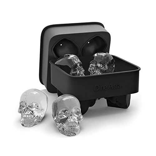 DineAsia 3D Skull Flexible Silicone Ice Cube Mold Tray, Makes Four Giant Skulls, Round Ice Cube Maker, Black - Pack of 1 (Chocolate Vodka Drink)