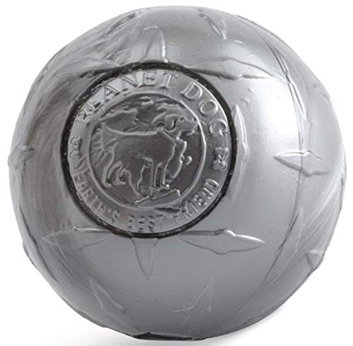 (Planet Dog Orbee Tuff Diamond Plate Dog Ball, Nearly Indestructible Dog Chew Toy, Made in the USA, 4-inch, Silver )