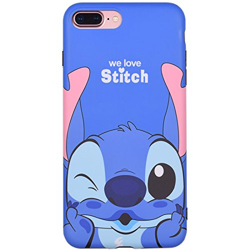 new style d7f0a d6d31 Ultra Slim Fit Smooth Soft TPU Blue We Love Stitch Case for iPhone 7+ 7Plus  8Plus Large Size 5.5