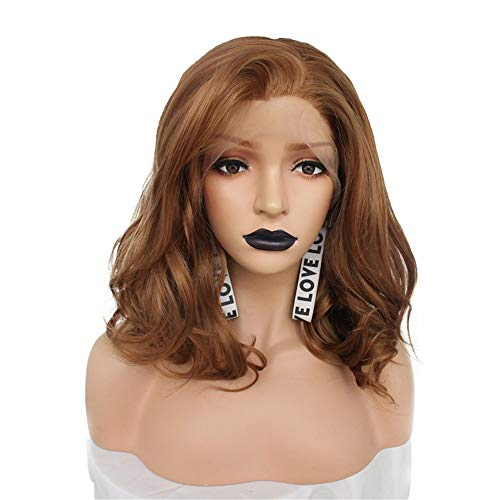 ZYC Glueless High Temperature Fiber Peruca Short Body Wave Bob Hair Wigs Blonde Synthetic Lace Front Wig for Women]()