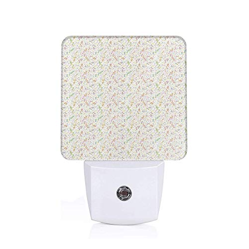 (Colorful Plug in Night,Festive and Colorful Confetti Pattern Happy Occasion Theme Dots Stars and Streamer,Auto Sensor LED Dusk to Dawn Night Light Plug in Indoor for Childs Adults)