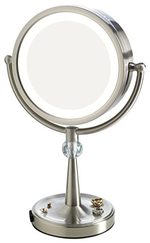 Elizabeth Arden 1x/10X Magnification Lighted Tall Makeup Vanity Counter-Top Mirror w/ Recessed Jewelry Tray and Adjustable 360-Degree Rotation