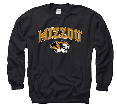 Crew Football Sweater - Missouri Tigers Adult Arch & Logo Gameday Crewneck Sweatshirt - Black