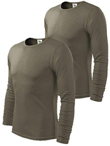 2er pack Herren Langarmshirt Slim Fit (X-Large, Army)