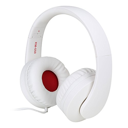 JNTworld Foldable wired DJ Headset(with Mic) stereo headphones Earphones (85mm Large Ear-cup), white
