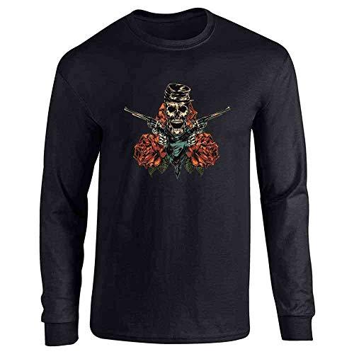 (Pop Threads Civil War Skeleton with Revolvers and Roses Skull Black L Long Sleeve T-Shirt)