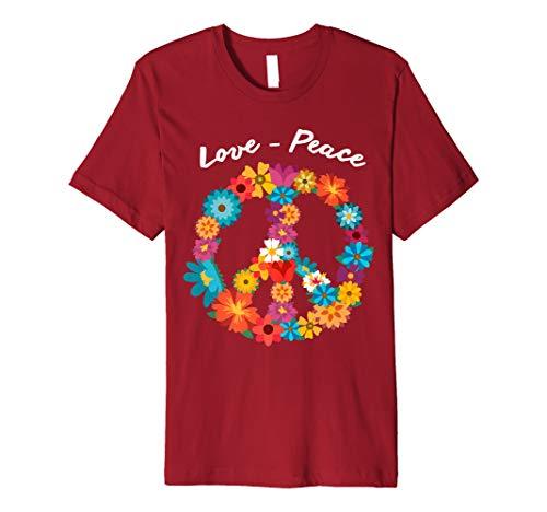 Peace Love Shirt | 60's 70's Hippie Costume Tie Die ()