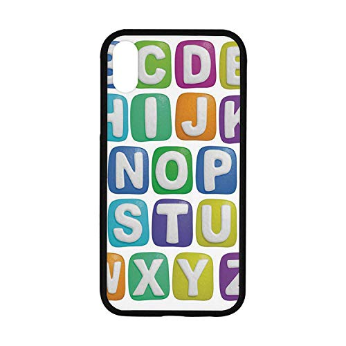 Letter Rubber Phone Case,Cartoon Style Colorful Alphabet Squares Children Kids Nursery Kindergarten Design Decorative Compatible with iPhone XR ()