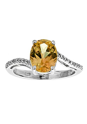Sterling Silver Citrine Ring with Diamond Accent Ring, Size 8 (Citrine And Diamond Ring)