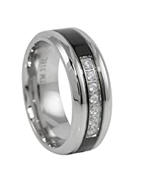 Panvisionary Men's Clear 7 Cz Stone Ring With Black Stainless Steel Wedding Band