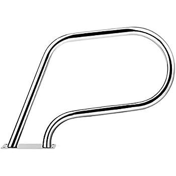 Goplus Pool Hand Rail, Easy Mount Hand Grab Rail Stainless Steel Swimming Pool Stair Rail w/Base Plate (23