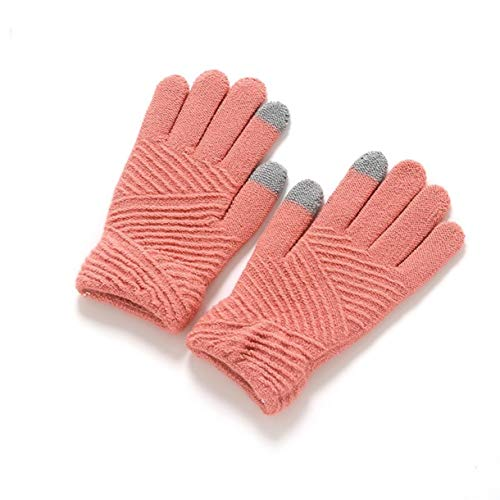(1 Pack (1 Pair) Girls Warm Winter Gloves Color Light Pink Screen Sense Striped Wool Knitted Fingers Mittens Unisex Men Women Toddler Garnished Fashionable Work Hand Wrist Strap Dryer Touch Glove)
