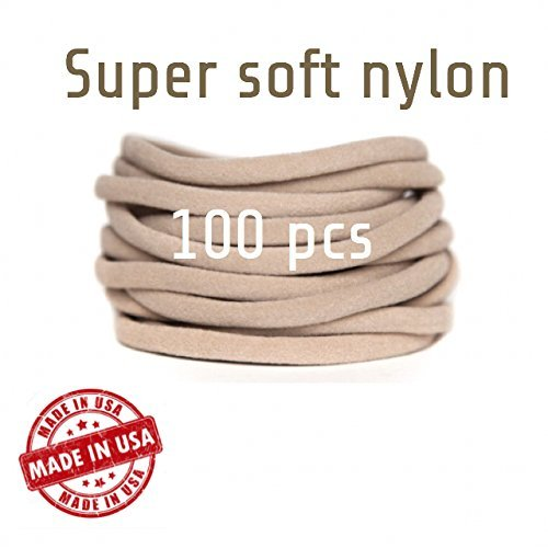 100 Nylon Headbands Baby Headbands One Size Fits All Skinny Nylon Headbands, Run-Resistant Headbands DIY Baby Headbands Stretchy Baby Headbands