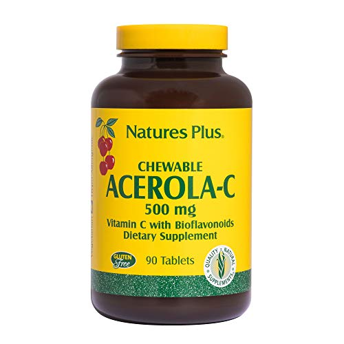Natures Plus Acerola-C Complex Chewable, 500 mg Vitamin C, 90 Vegetarian Tablets - Whole Fruit Supplement, Promotes Immune Support, Antioxidant - Gluten Free - 90 ()