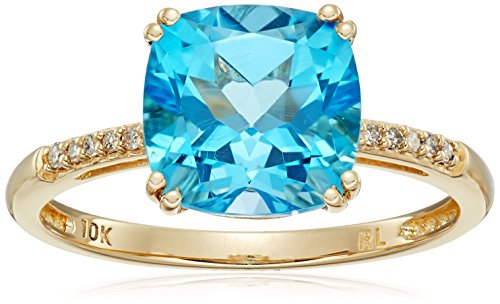 10k Yellow Gold Cushion Cut Swiss Blue Topaz with Diamond Accent Ring, Size 7