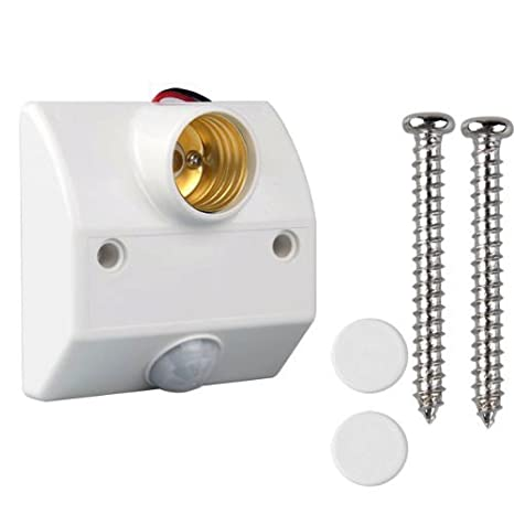 Sonline Base Portalamparas con Sensor Movimiento Infrarrojos Blanco