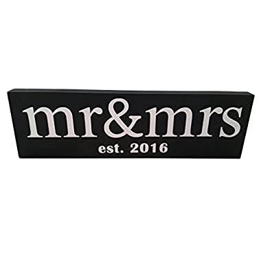 Mr & Mrs est 2016 Wedding Gift Wood Sign Vintage handmade, Unique Decoration Idea, Perfect for wedding photo prop / Bridal Shower / NewlyWed Wall Decor - 100% Solid Pine Wood - ( Black )