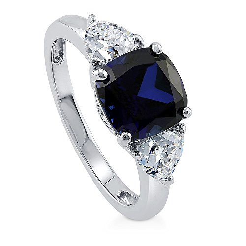 BERRICLE Rhodium Plated Sterling Silver Simulated Blue Sapphire Cushion Cut Cubic Zirconia CZ 3-Stone Anniversary Engagement Ring 3.84 CTW Size 8