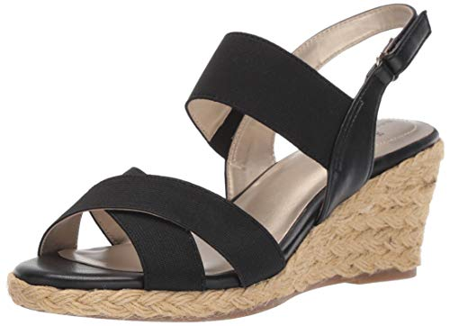 Bandolino Women's Hearsay Wedge Sandal, Black, 10 Medium US