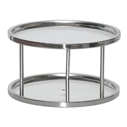 Two Tier Lazy Susan Turntable For Cabinet Steel (Stainless) (6u0026quot;H