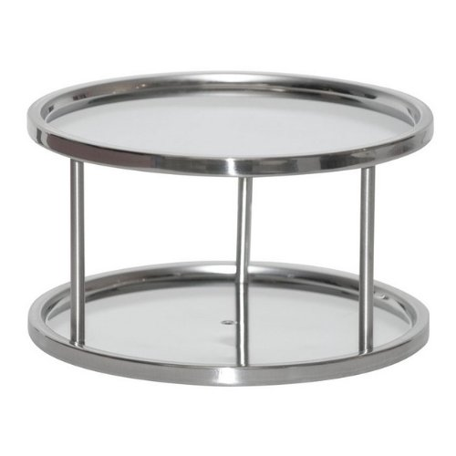 "Two Tier Lazy Susan Turntable For Cabinet-Steel (Stainless) (6""H x 10 1/2""Diameter)"