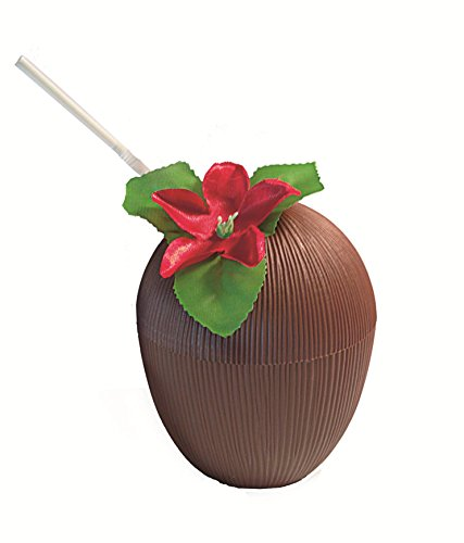 Coconut Party Cups (Luau Party Plastic Coconut Cup w Straw & Flower Decoration, Brown Multi)