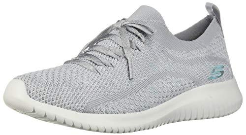 Skechers Women's Ultra Flex-Good Looking Sneaker, Grey/Blue, 7 M US