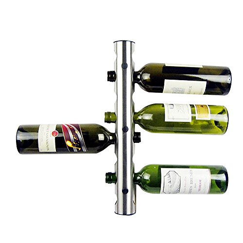 Stainless Steel Wall Mounted Wine Bottle Holder 8 Holes by Simplewoo