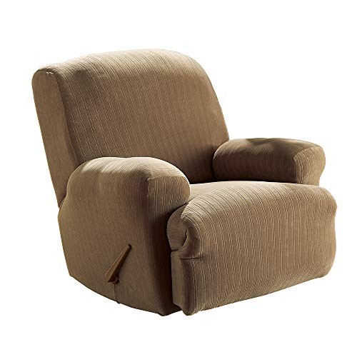 SureFit Stretch Pinstripe 1-Piece - Recliner Slipcover - Taupe Duck Short Dining Chair Slipcovers
