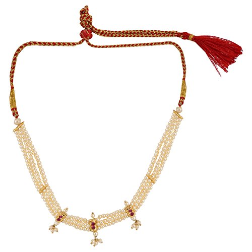 (Efulgenz Indian Traditional White Red Rhinestone Faux Ruby Pearl Thusi Style Necklace in Antique 18K Gold Tone for Women and Girls)