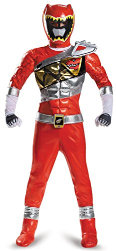 Disguise Red Ranger Dino Charge Prestige Costume, Medium (7-8) ()