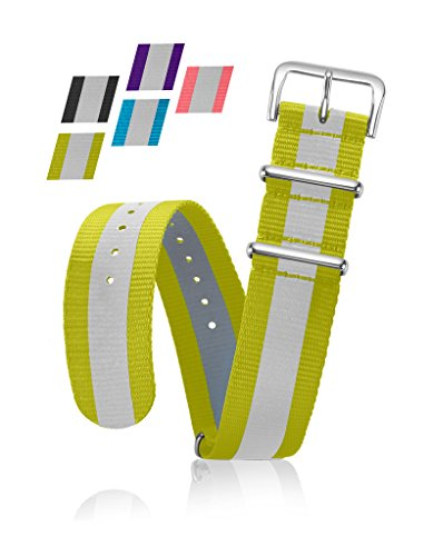 Reflective Bracelet Strap - Replacement Watchband or Wrist Band - Ballistic Nylon NATO Strap with Removable Stainless Steel Buckle - 18mm- Yellow