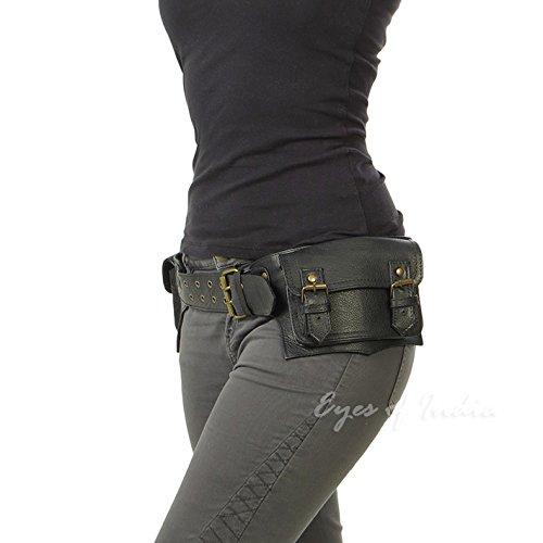 c858274e284c Eyes of India - Black Leather Belt Waist Hip Bum Bag Pouch Fanny ...