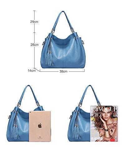 naranja Mujer Flecos Capacidad Gran Xwh Azul Casual Para cm Piel Cuero Bandolera Con Bolso De Vaca pv01O