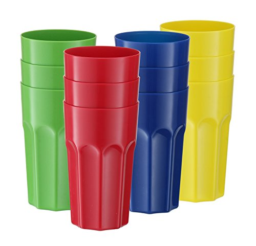 ic Tumblers Reusable Drinking Glass, Break-Resistant Drinkware Dishwasher Safe Party Cups, Kids Fun Colors, 20 oz. ()
