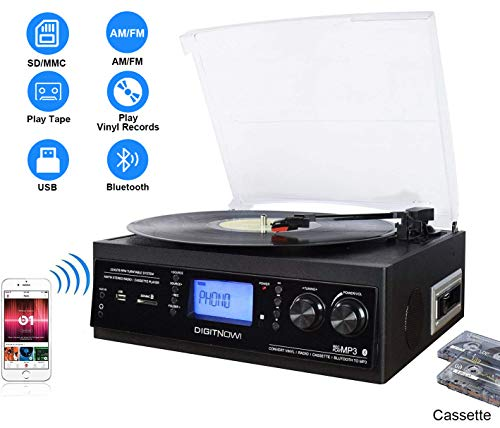 DIGITNOW! Record Player Built-in Stereo Speaker, Bluetooth Vinyl Turntable with Cassette / Radio / Aux in / USB and SD Encoding / Remote Control