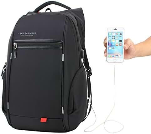 LUXUR Nylon Waterproof Laptop Backpack Casual School Business Travel Daypack Fit 16 Inch Laptop Black