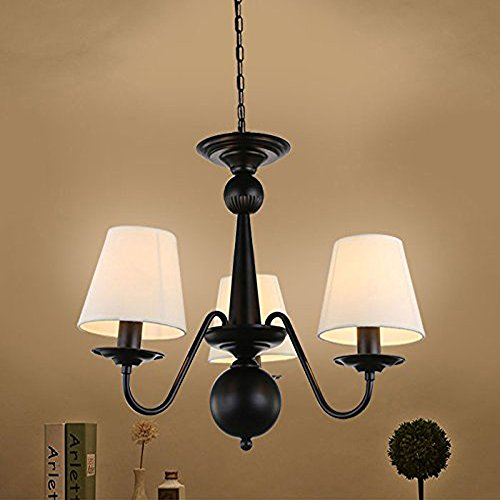 Cloth Cover American Chandeliers Pendant Lighting 3 Lights Antique Black Wrought Iron Ceiling Lamp Fixture Modern White Fabric Lampshade for Restaurant, Dining Room, Living Room by YANCEN