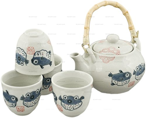 Happy Sales HSTS-BLF07, Japanese Design Off White Porcelain Tea Set Blowfish