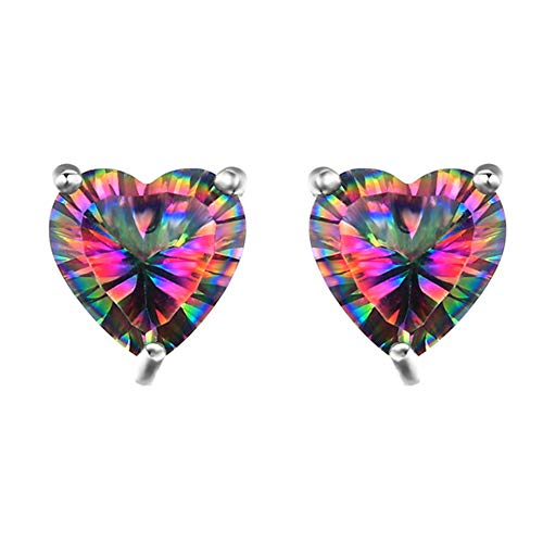 (MIXIA 925 Stering Silver 7mm Heart Solitaire Basket Set Stud Earrings with Natural Rainbow Color Crystal Hypoallergenic Love Jewelry)