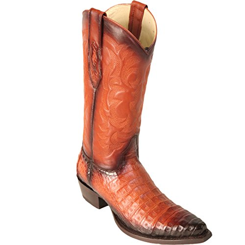 Original Faded Cognac Caiman (Gator) Belly Leather Snip-Toe Boot