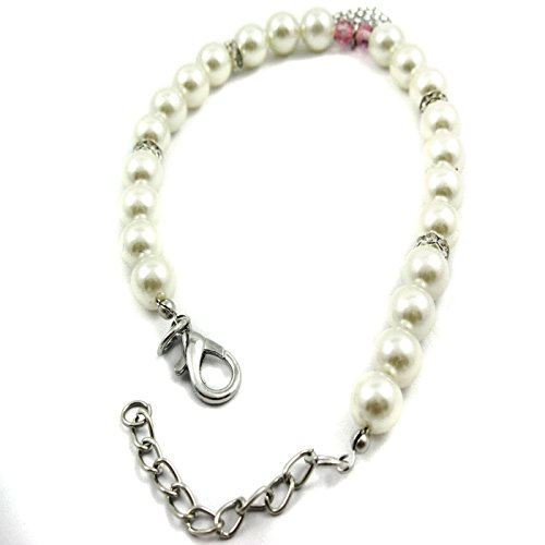 Image of Alfie Couture Designer Pet Jewelry - Pinky Crystal Heart Pearl Necklace - Size: L (12