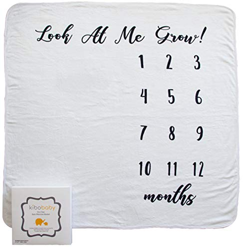 """Baby Monthly Milestone Blanket by Kibo Baby – Premium Soft Fleece 47""""x47"""" – Includes FREE BONUS printable Photography Accessories – Baby Month Blanket for Newborn Boys Girls – Perfect Baby Shower Gift"""