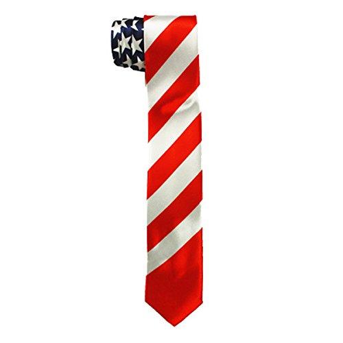 Narrow Slim Necktie (Fashion Designer NARROW NECKTIE Selections - Silk Feel Slim Novelty Soft Neck Tie for Tuxedo (US Flag))